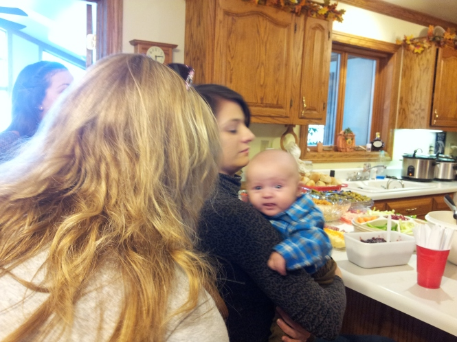 We met new family members--Baby Eli--he's adorable. Not sure what Coley was doing to him, but 90% of the time, he's a happy camper. ;)