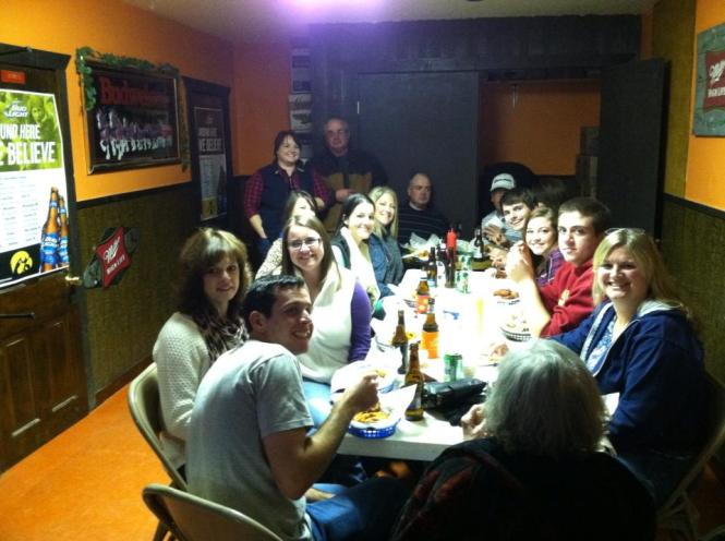 Just half of the crew. If you ever want the best wings in NW Iowa. Head to the Pumpkin on Friday nights.