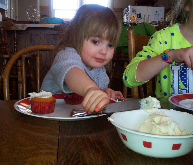 Even our two-year old rocked the cupcake decorating. She did better than I did.