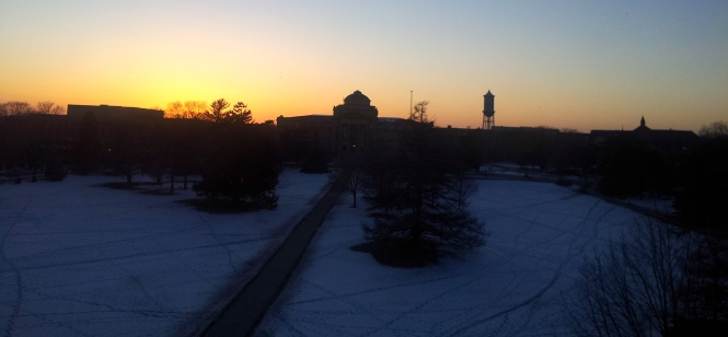 While this looks pretty, the wind that whips around Central Campus is getting old.
