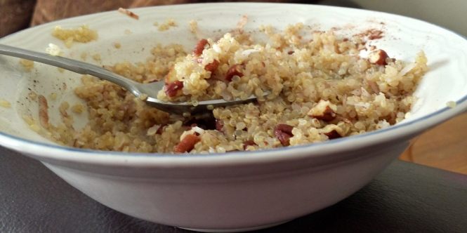 """This was my breakfast this morning. """"Breakfast Quinoa,"""" was pretty good!"""