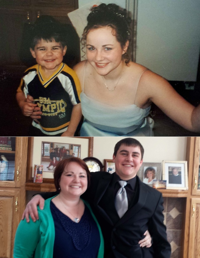 WLVA/ESC prom 14 years apart. As it turns out, the Damon has changed a bit during that time. (I, of course look exactly the same...) Ha!